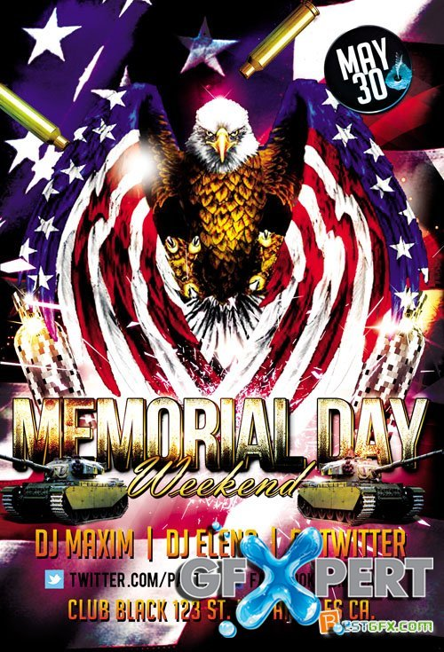 Flyer PSD Template - Memorial Day Weekend Facebook Cover
