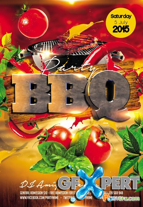 Free Flyer Psd Template  Bbq Party Facebook Cover Download