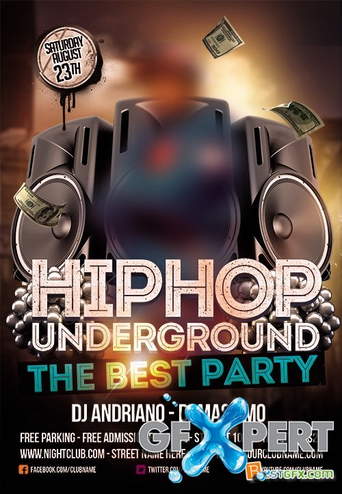 Template plus FB Cover - Hip Hop Underground Flyer PSD