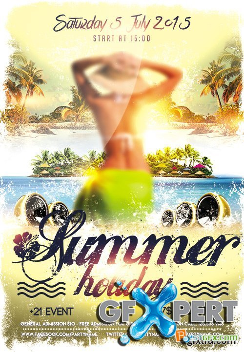 Flyer PSD Template plus FB Cover - Summer Holiday 2