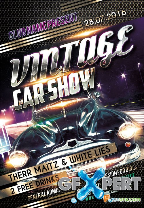 Flyer PSD Template - Vintage Car Show + Facebook Cover