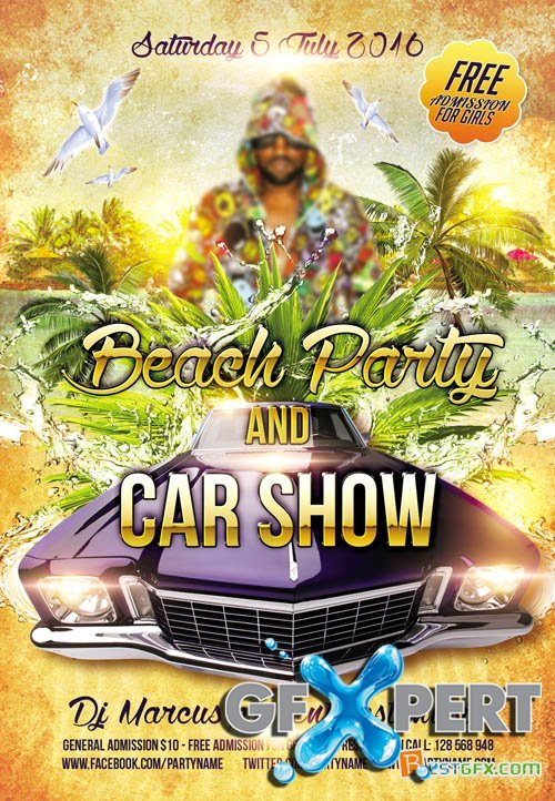 Flyer PSD Template - Beach Party and Car Show + Facebook Cover