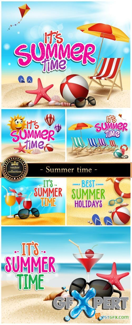 Summer time, marine backgrounds vector
