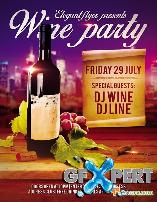 Flyer PSD Template - Wine Party + Facebook Cover