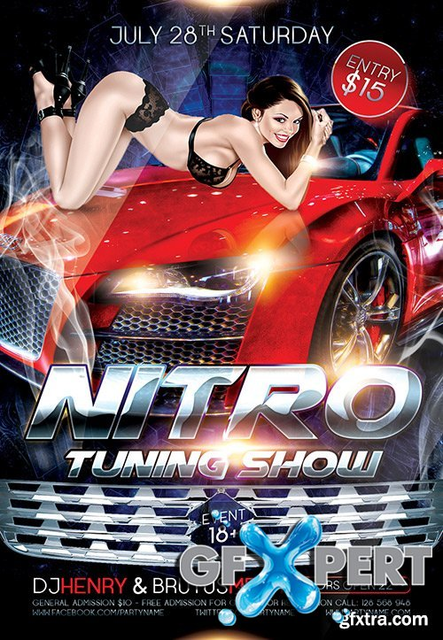 Nitro Tuning Show Flyer PSD Template + FB Cover