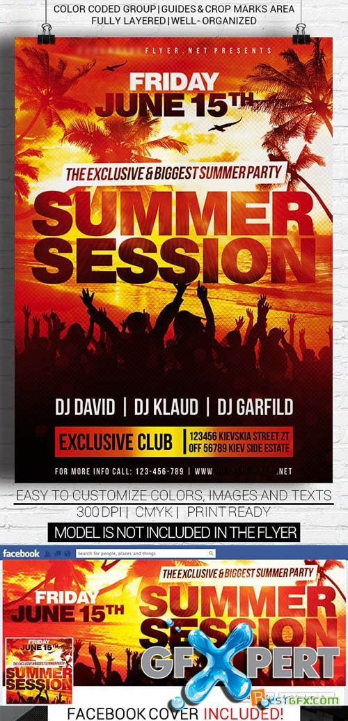 Flyer Template - Summer Session + Facebook Cover