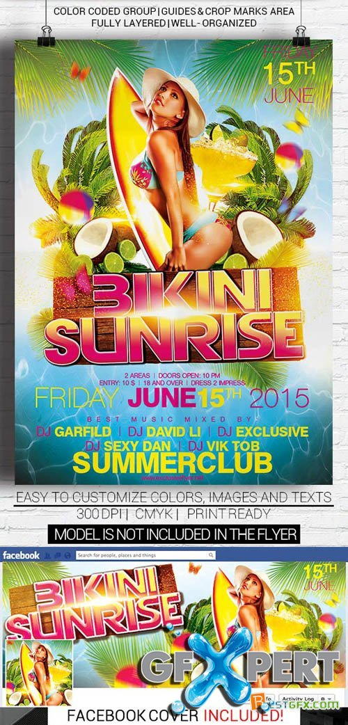 Flyer Template - Bikini Sunrise + Facebook cover