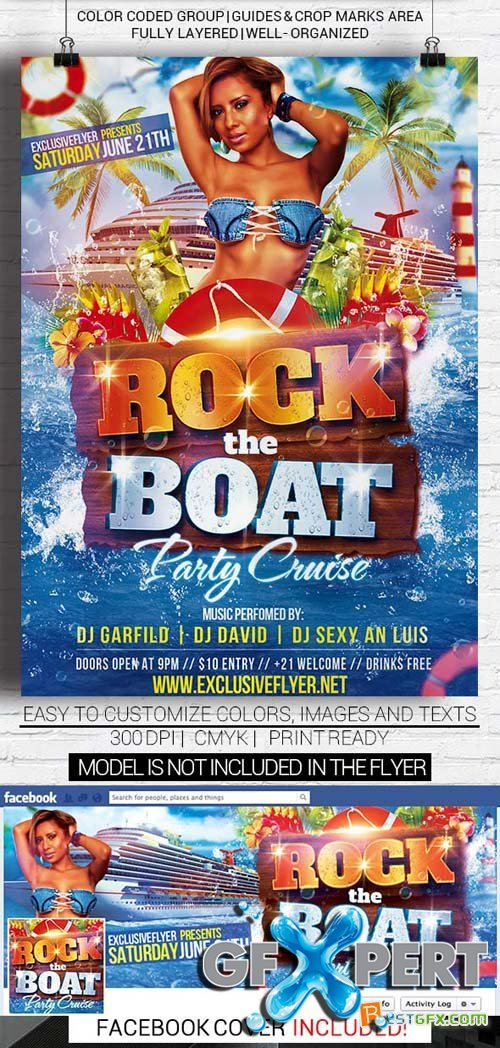 Flyer Template - Rock The Boat + Facebook Cover