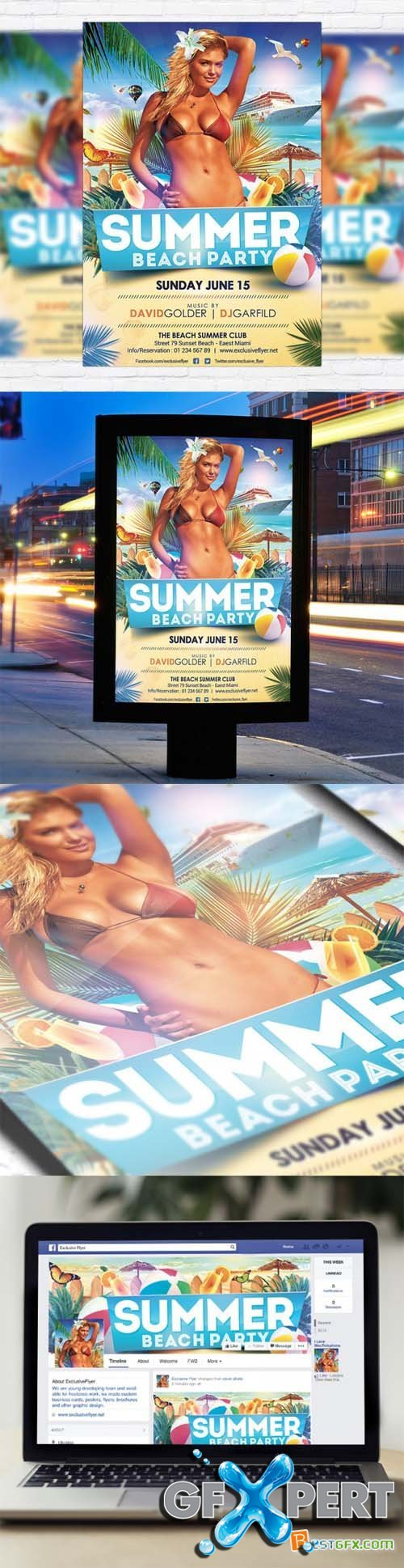 Flyer Template - Summer Beach Party + Facebook Cover