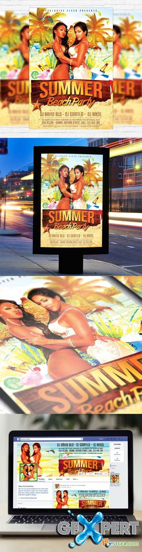 Flyer Template - Summer Beach Party 3 + Facebook Cover