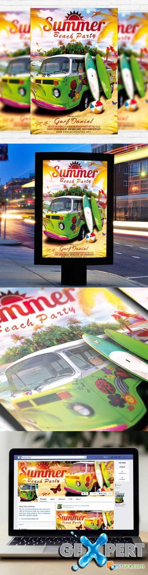 Flyer Template - Summer Beach Party 2 + Facebook Cover