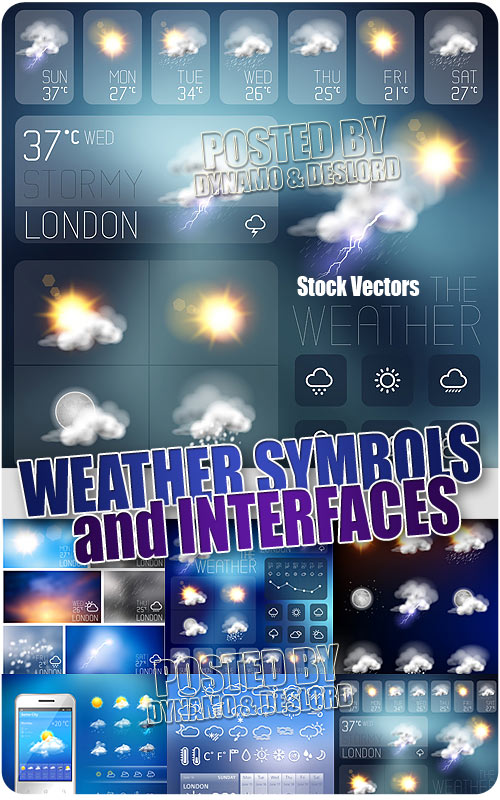 Weather symbols and Interface - Stock Vectors