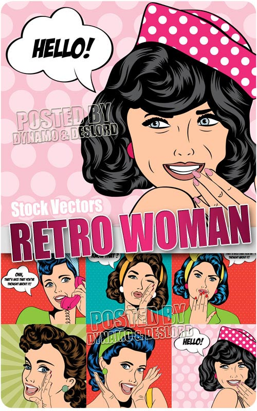 Retro woman - Stock Vectors