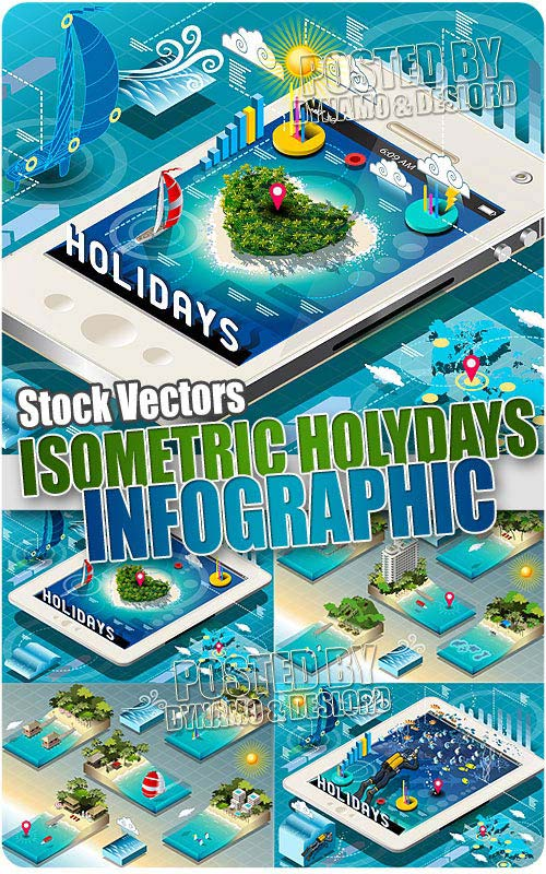 Isometric Holidays Infographic - Stock Vectors