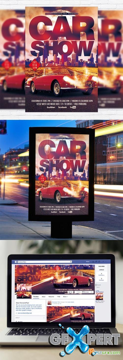 Flyer Template - Car Show + Facebook Cover