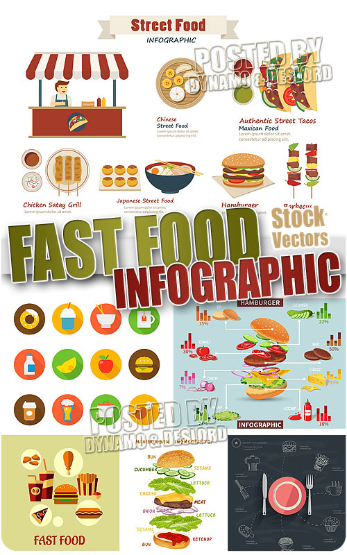 Fast food infographic - Stock Vectors