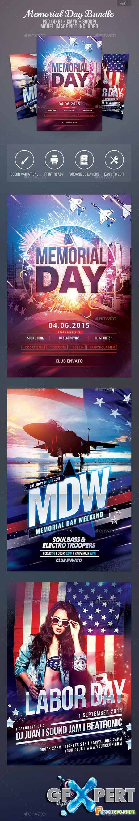 Graphicriver Memorial Day Flyer Bundle 11579521