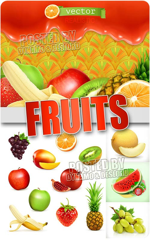 Realistic fruits - Stock Vectors