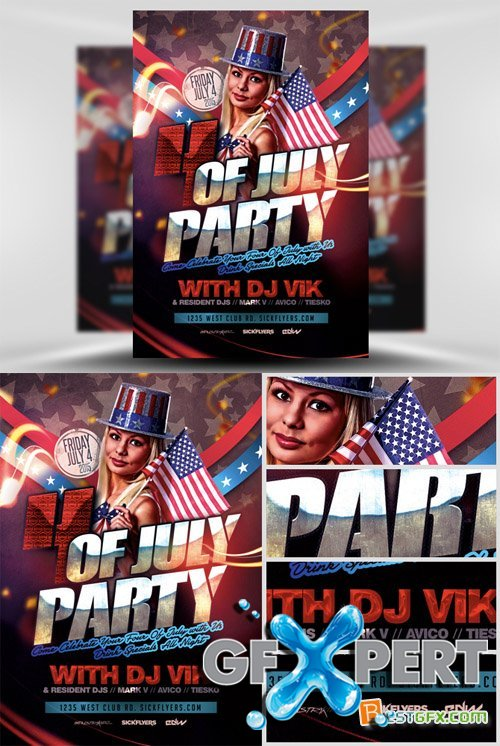 Flyer Template PSD - July 4th