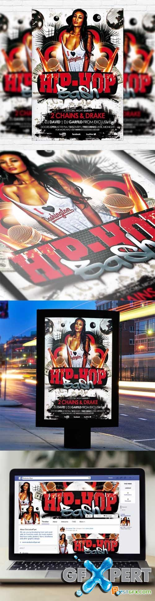 Flyer Template - Hip Hop Bash + Facebook Cover