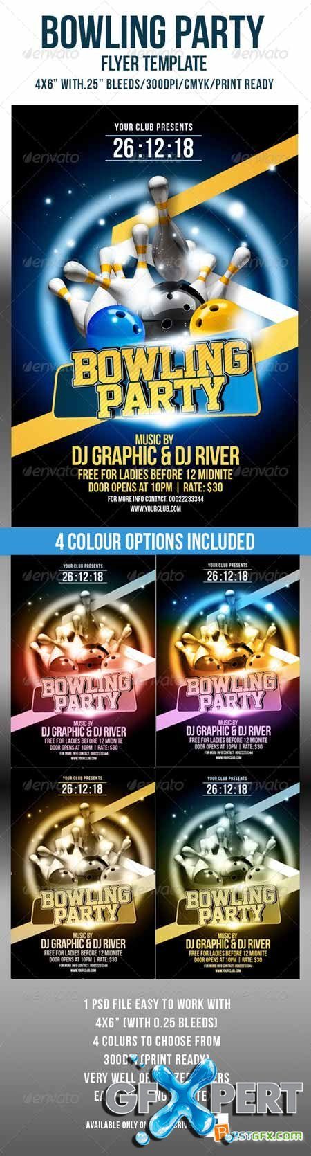 Graphicriver Bowling Party Flyer Template 4583827