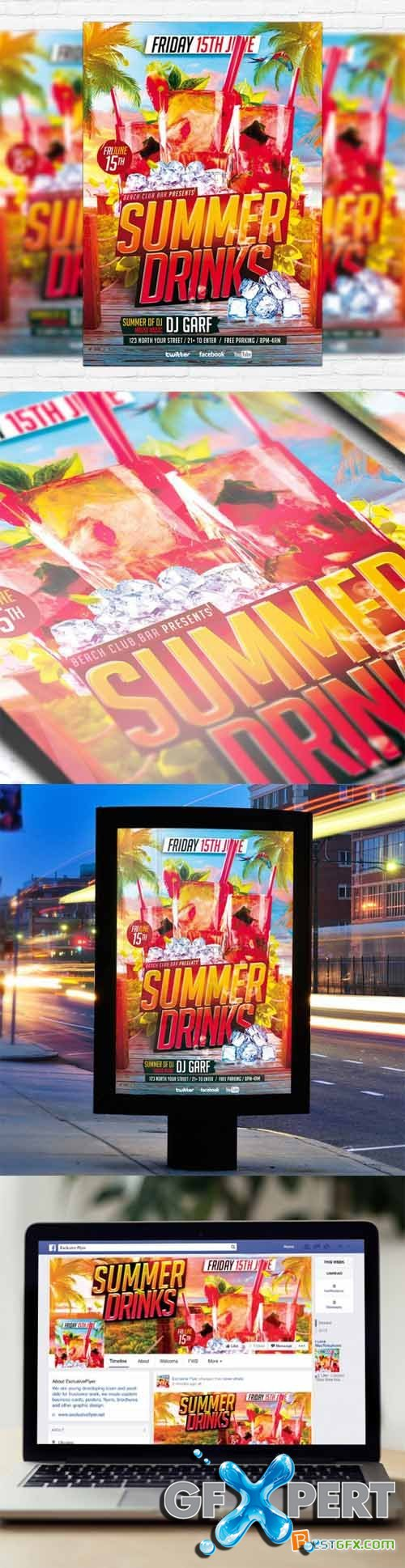 Flyer Template - Summer Drinks + Facebook Cover