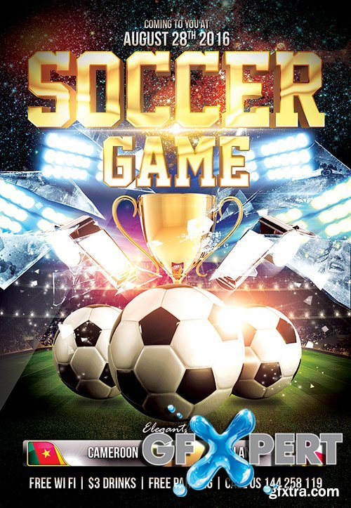Soccer Game Flyer PSD Template + Facebook Cover
