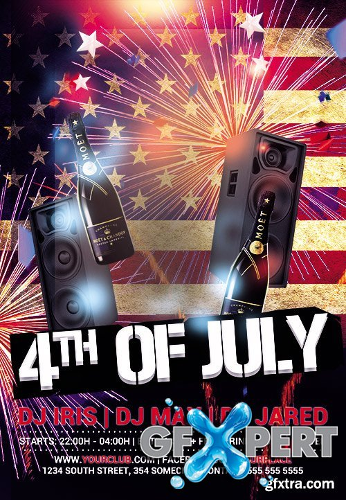 4th of July Flyer PSD Template + Facebook Cover
