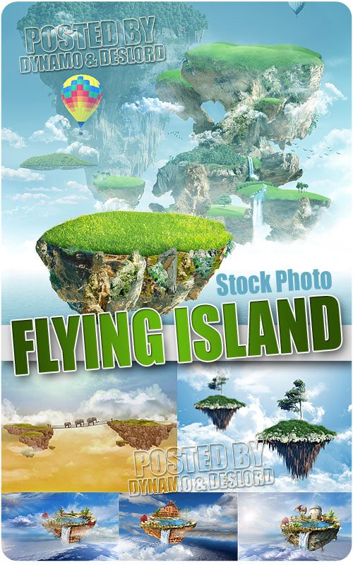 Flying island - UHQ Stock Photo