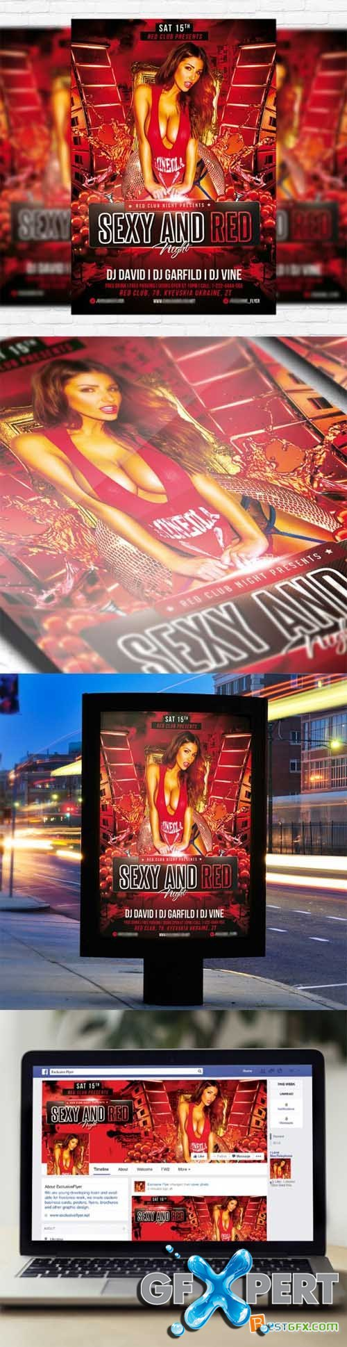 Flyer Template - Sexy and Red + Facebook Cover