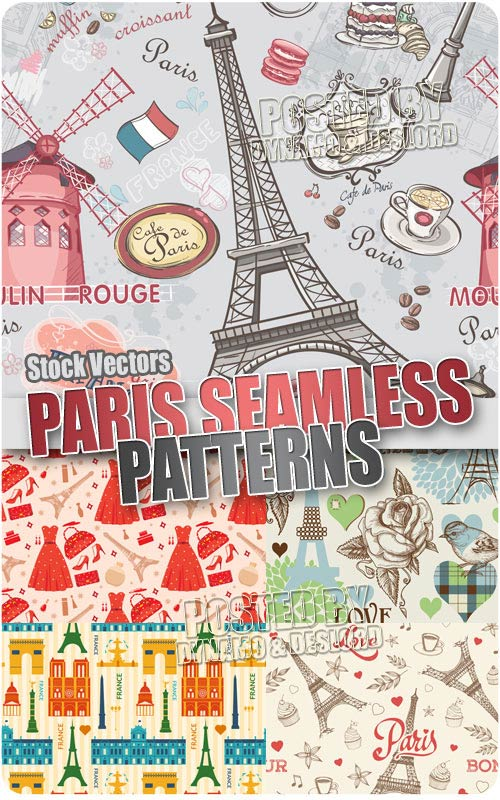 Paris pattern 3 - Stock Vectors