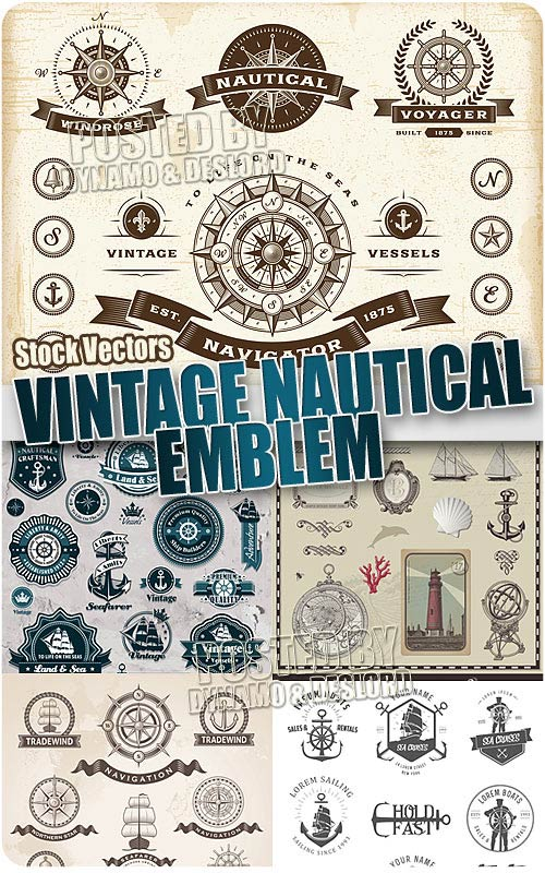 Vintage nautical emblem - Stock Vectors