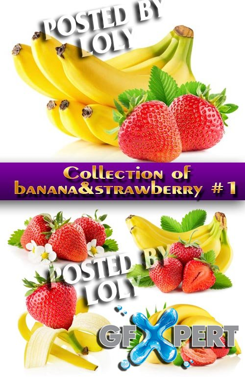 Food. Mega Collection.Banana and Strawberry #1 - Stock Photo