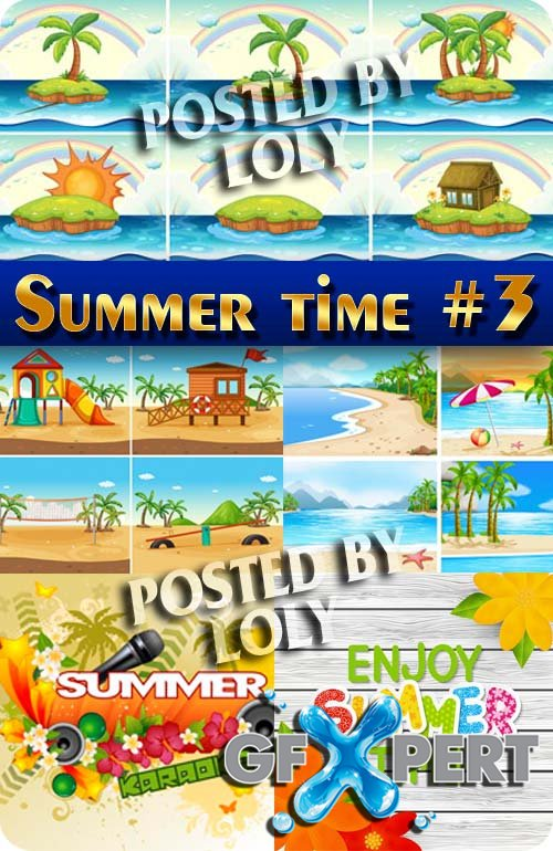 Summer. Sun. Sea. Beach #3 - Stock Vector