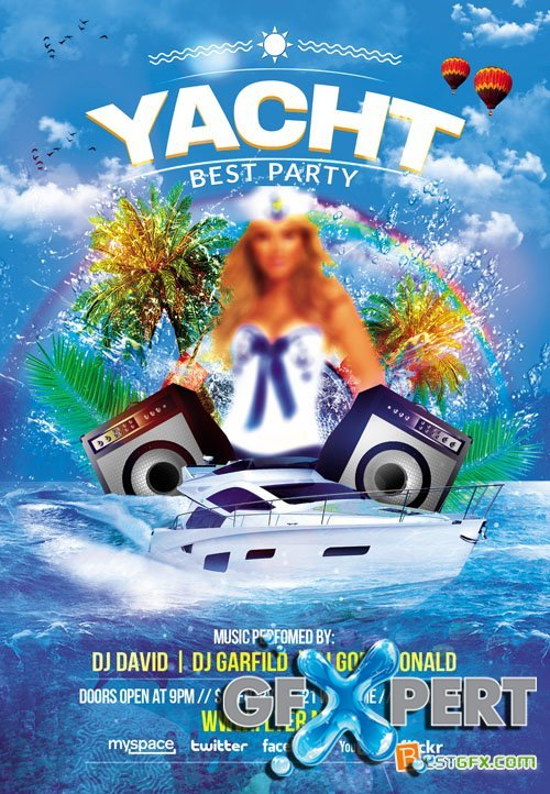 Flyer Template - Yacht Party + Facebook Cover