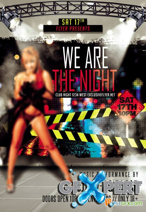 Flyer Template - We are the Night + Facebook Cover