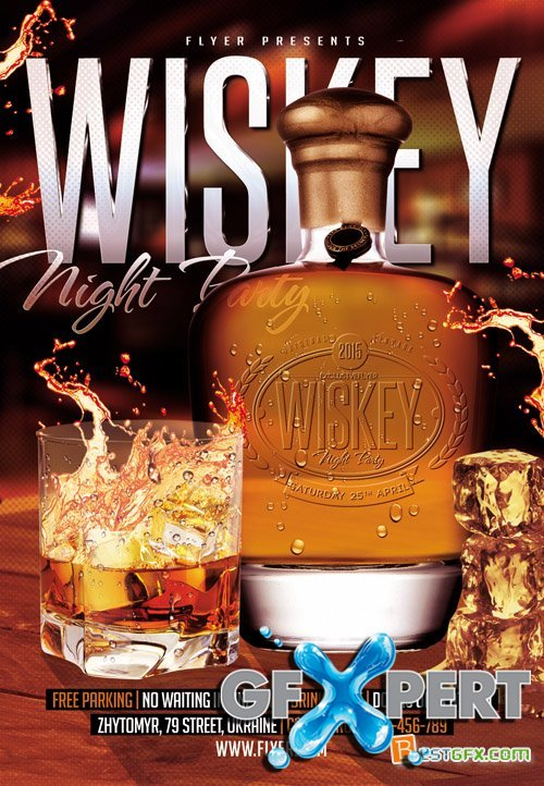 Flyer Template - Wiskey Night Party + Facebook Cover