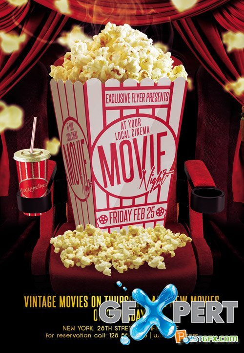 Free Flyer Template Psd  Movie Night Download