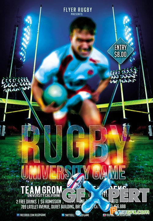 Flyer Template PSD - Rugby Game