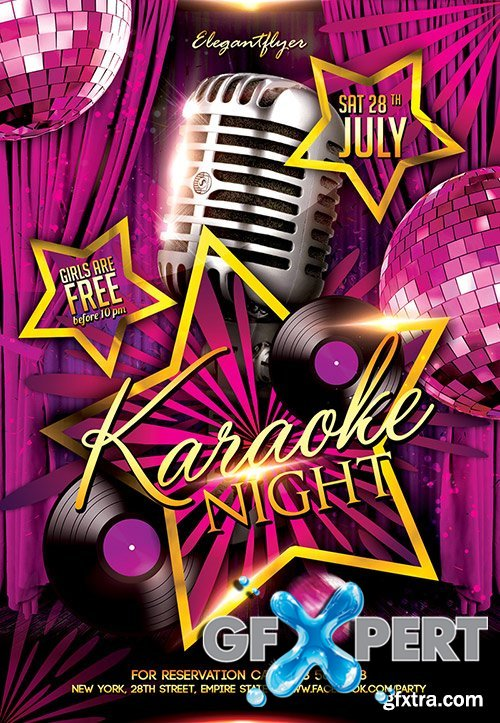 Free Karaoke Night Flyer Psd Template Facebook Cover