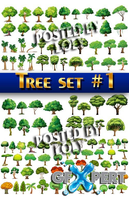 Tree set #1 - Stock Vector
