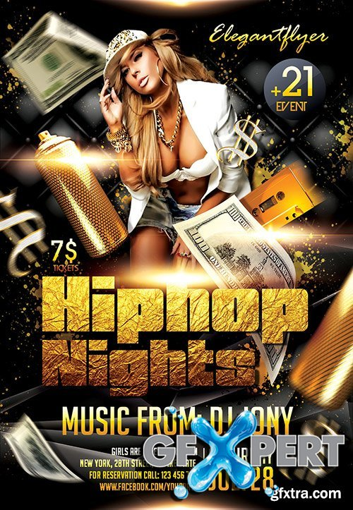 Hiphop Nights Flyer PSD Template + Facebook Cover