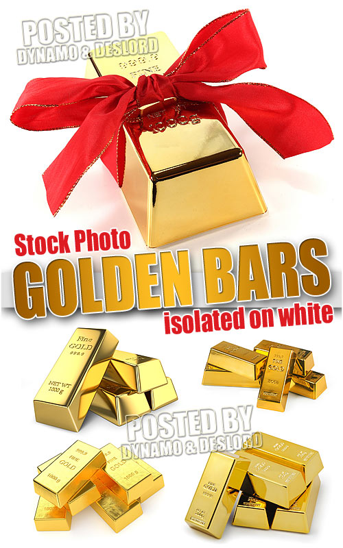 Golden bars isolated on white - UHQ Stock Photo
