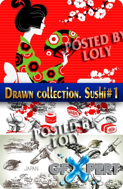 Hand drawn collection. Sushi #1 - Stock Vector