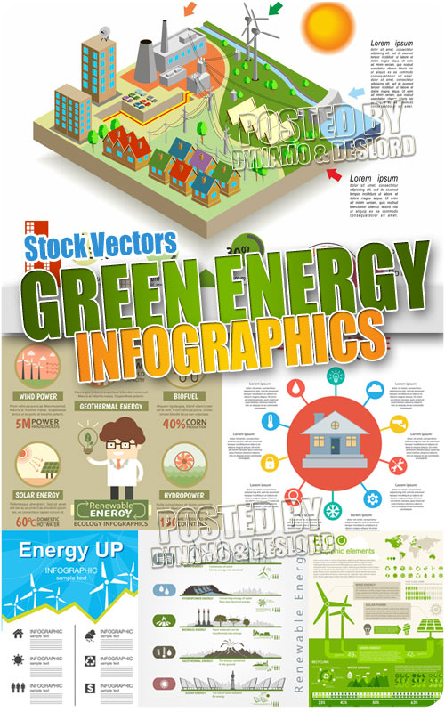 Green energy infographic - Stock Vectors