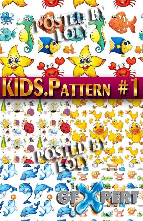 Kids Patterns #1 - Stock Vector