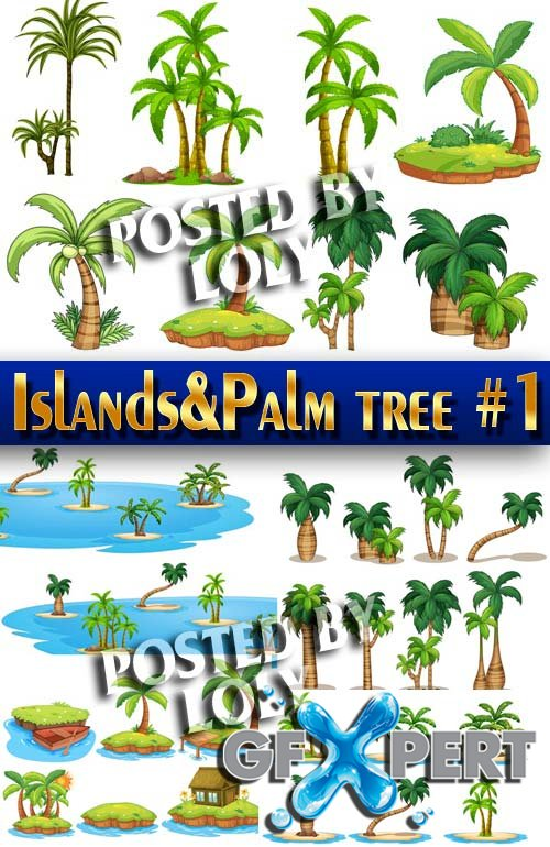 Islands and palm tree #1 - Stock Vector