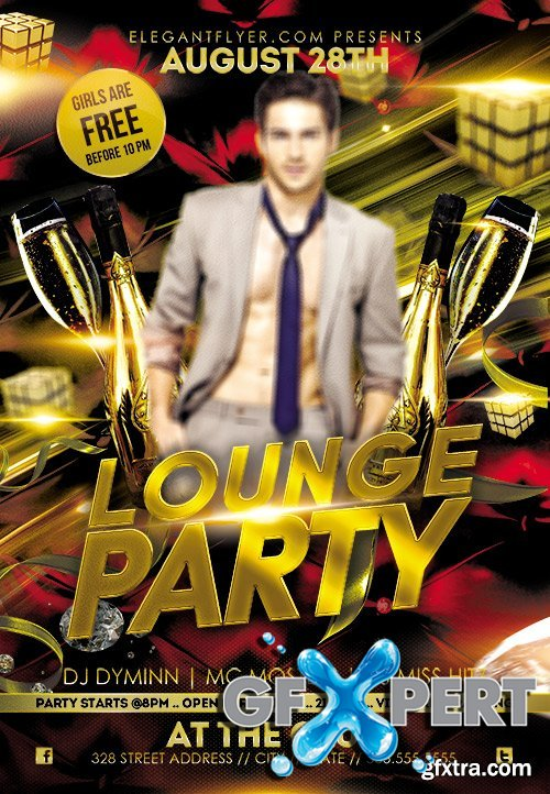 Lounge Party Flyer PSD Template + Facebook Cover