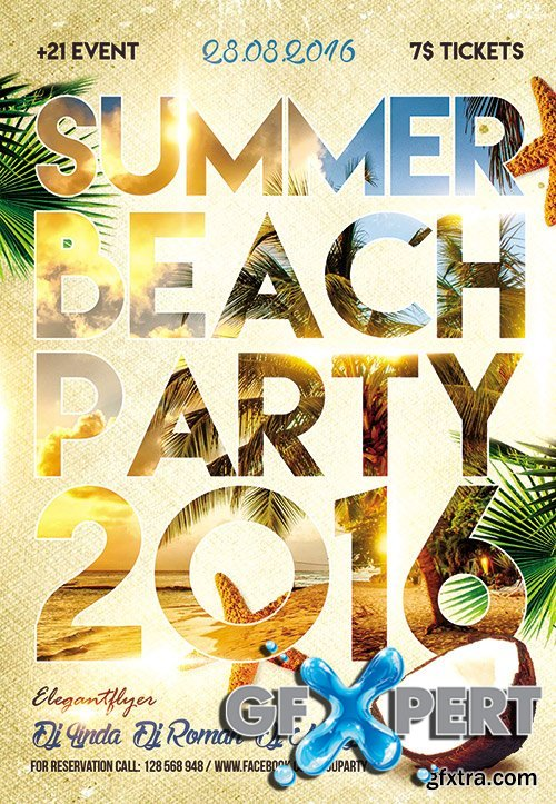 Summer Beach party 2016 Flyer PSD Template + Facebook Cover
