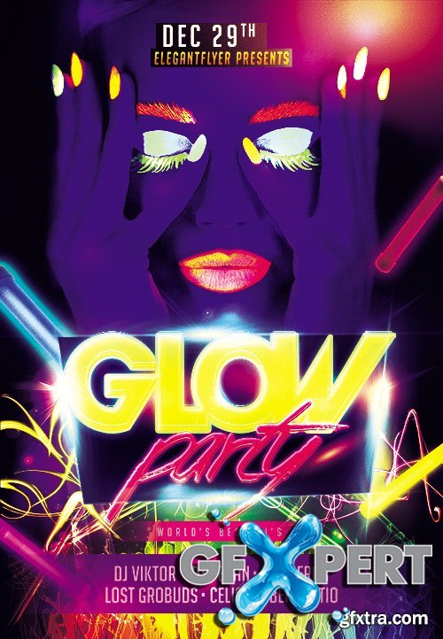 Glow Party Flyer PSD Template + Facebook Cover